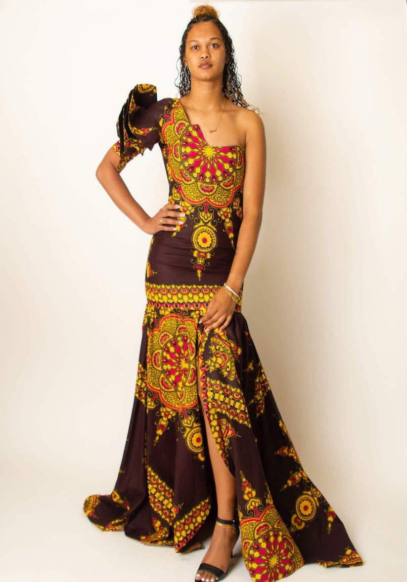 African prints brown floral dress