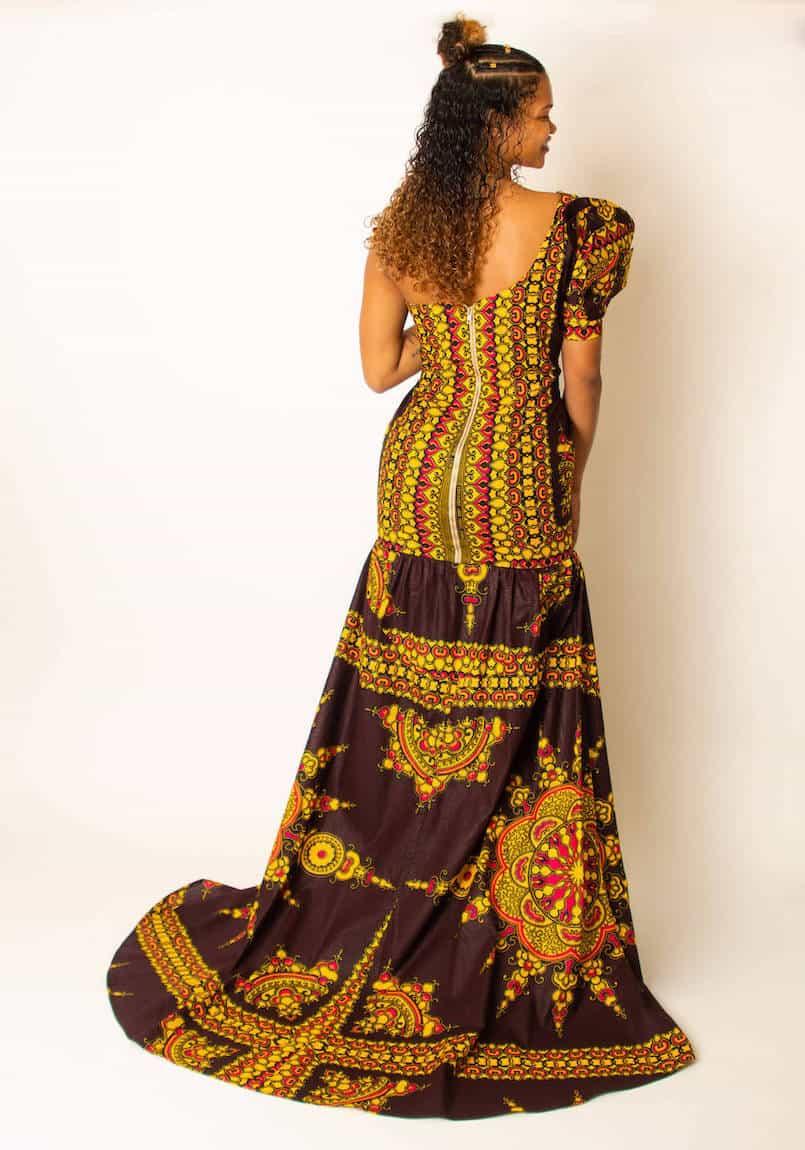African prints brown floral dress back