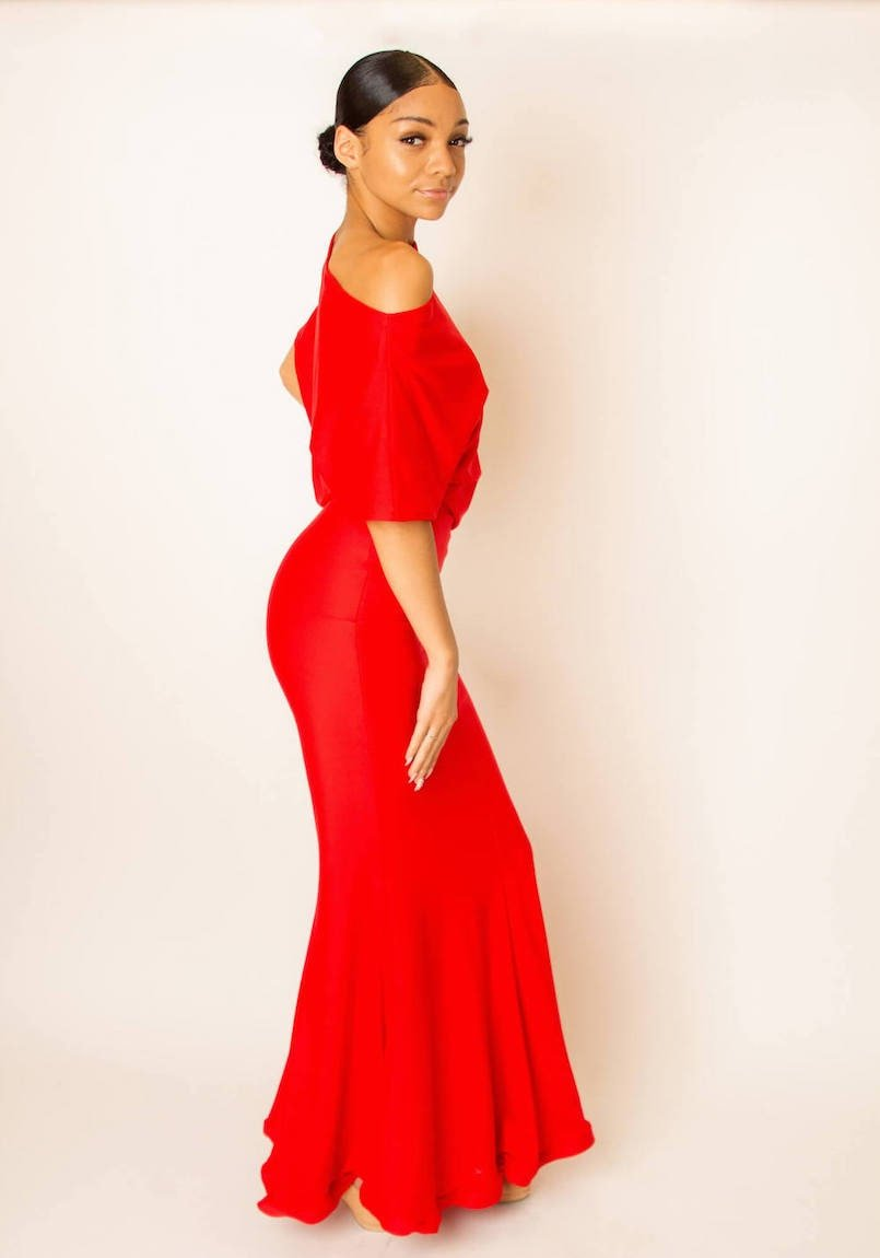 red stretch dress with flare side