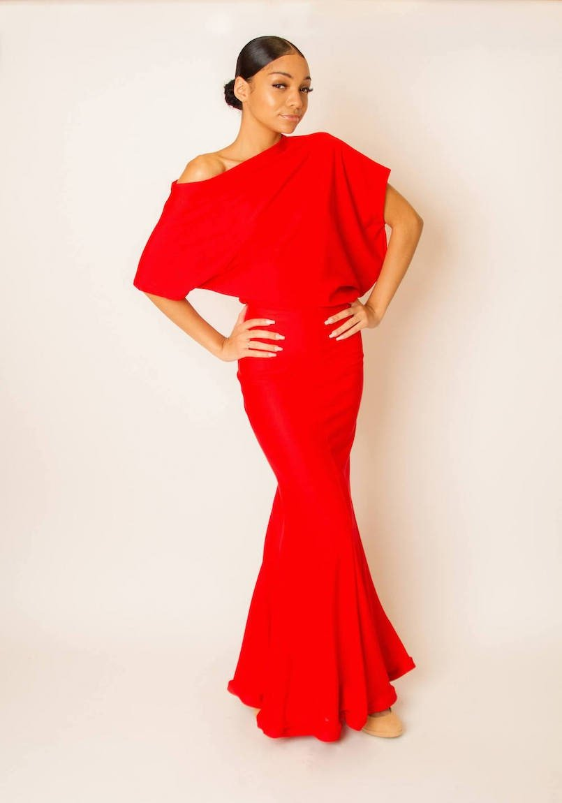 red stretch dress with flare front